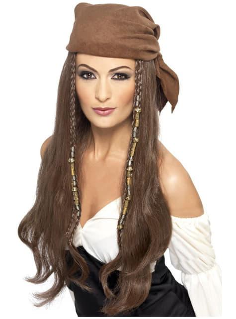 Peruca de pirata castanha para mulher