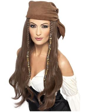 Bruine Piraten pruik voor vrouw