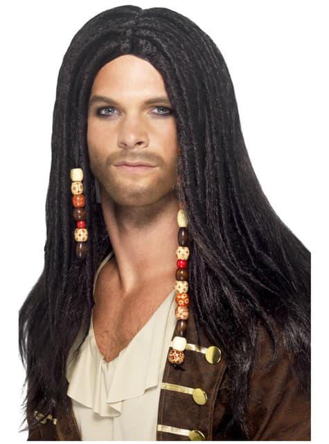 Peruka czarna pirat męska