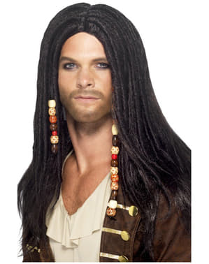 Mens Pirate Black Wig