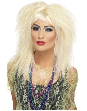 Jaren 80 stijl blonde geplooide pruik voor vrouwen