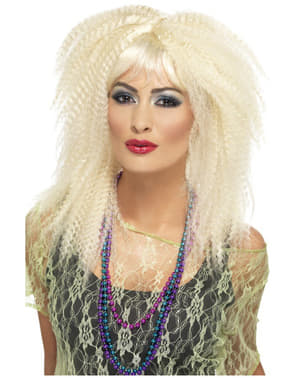 Peruca loira anos 80 cabelo frisado para mulher