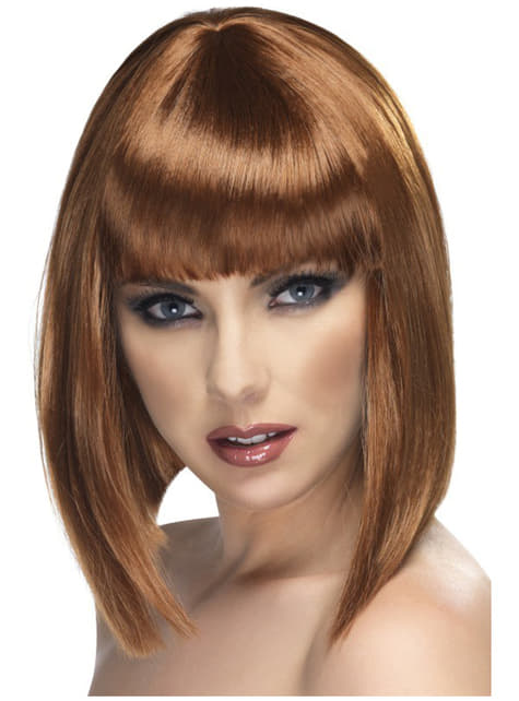 Peluca glamurosa corta marrón