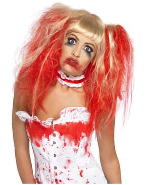 Perruque blonde avec des gouttes de sang