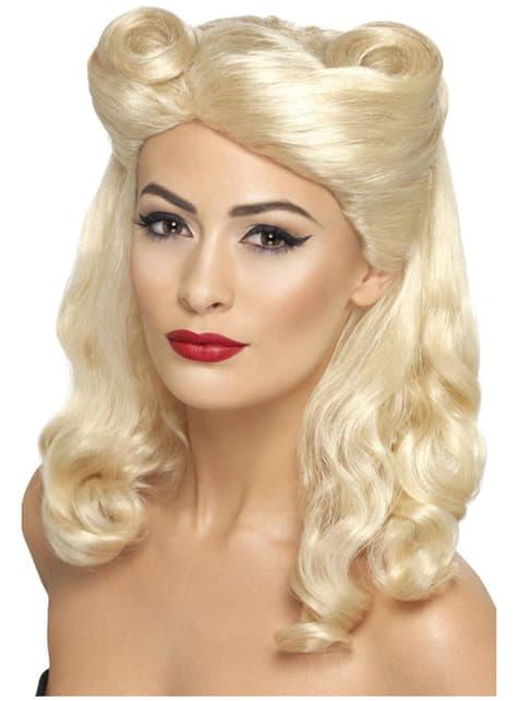40- luvun Pin-Up tytön vaalea peruukki
