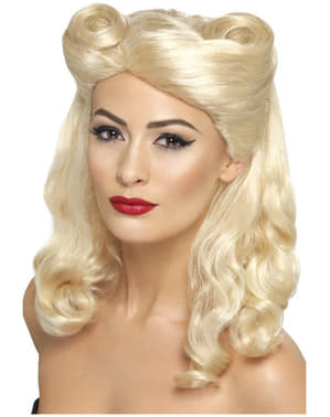 Perruque blonde pin-up des années 40