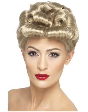 40s Vintage блондинка перуку