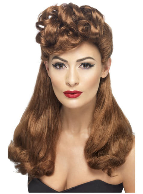40-es évek Vintage Auburn Wig
