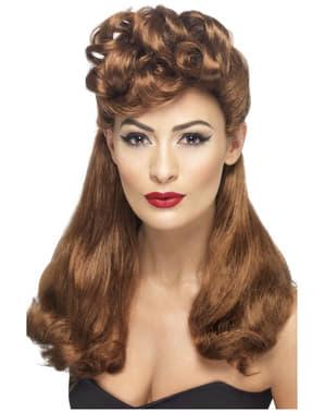 Perruque châtain rouge vintage des années 40