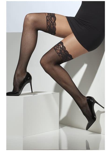Ciorapi negri fini cu dantelă de silicon