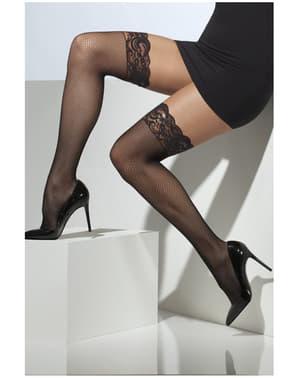 Meias-calças pretas finas com encaixe de silicone