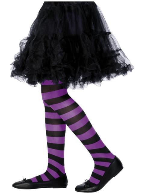 子供用黒と紫の縞模様タイツ