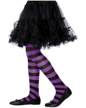 Čierno-fialové pruhované pančuchové nohavice pre deti