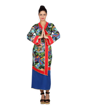 Disfraz de geisha azul para mujer