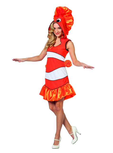Fato de peixe tropical cor de laranja para mulher