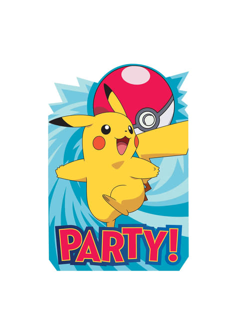 Conjunto de 8 convites de Pikachu Pokemon