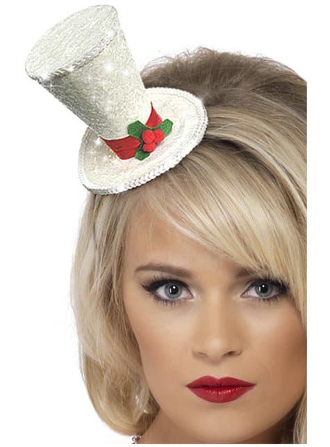 Cerchietto con cappello a cilindro natalizio bianco