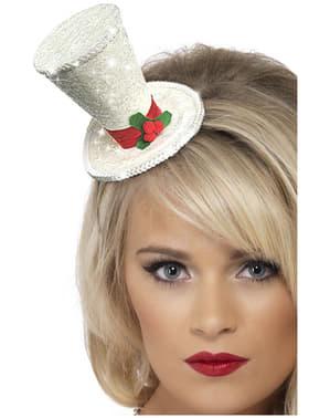 Valkoinen joulusilinterihattu -hiuspanta
