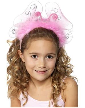 Bandolete com borboleta cor-de-rosa infantil