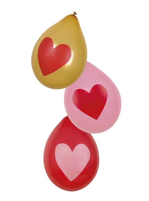 6 balões amor com corações dourados (25 cm)