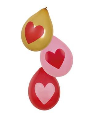 6 globos amor con corazones dorados (25 cm)