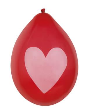 Комплект от 6 любовни балона със златни сърца