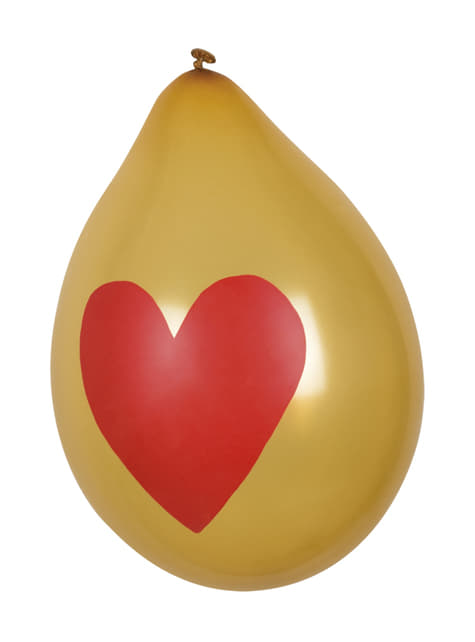 6 ballons amour avec des cœurs dorés