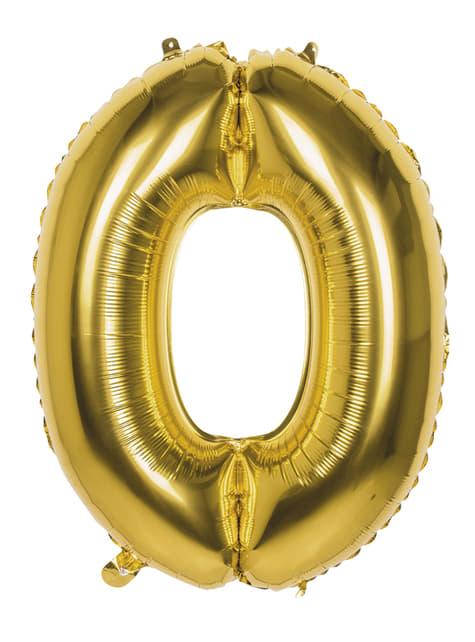 Ballon chiffre 0 doré 86 cm