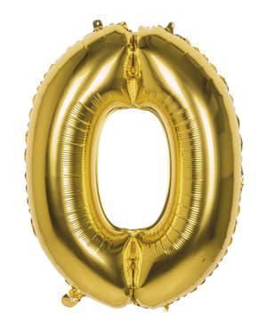 Ballong nummer 0 guldfärgad 86 cm