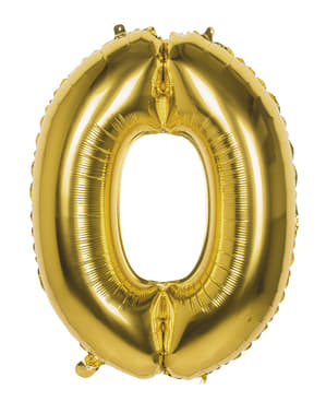 Nummer 0 guld balloon 86cm