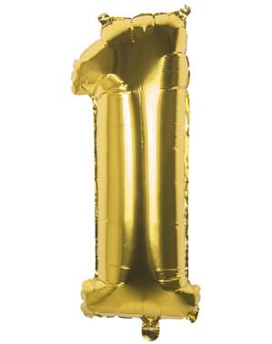 Ballon chiffre 1 doré 36 cm