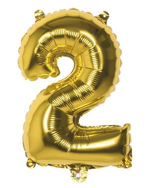 Globo número 2 dorado 36 cm