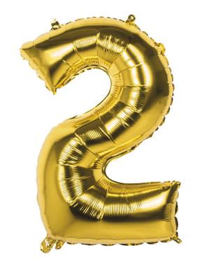 Balon numărul 2 auriu 86 cm