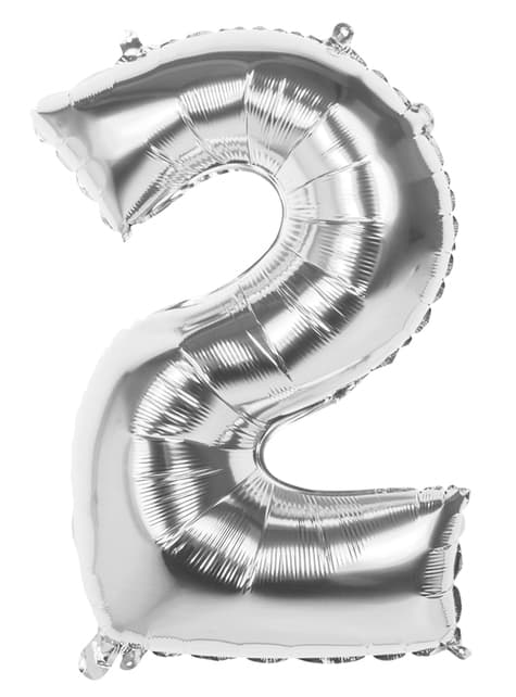Number 2 silver balloon 86cm