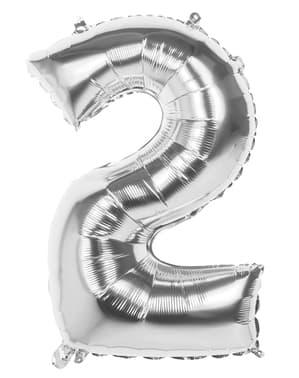 Ballon chiffre 2 argenté 86 cm