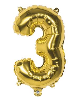 Ballong nummer 3 guldfärgad 36 cm