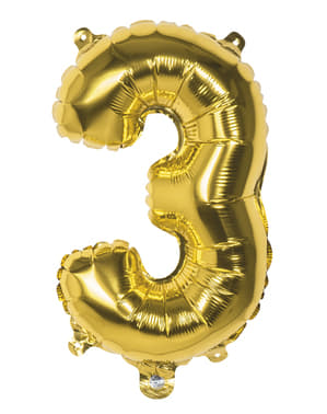 Number 3 gold balloon 36cm