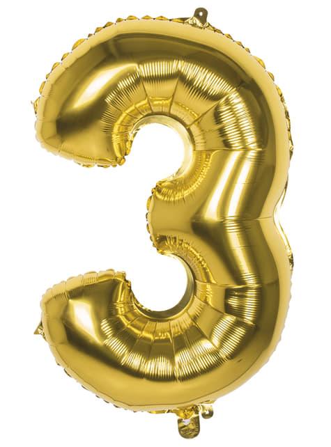 Ballon chiffre 3 doré 86 cm