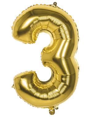 Gouden nummer 3 ballon 86cm