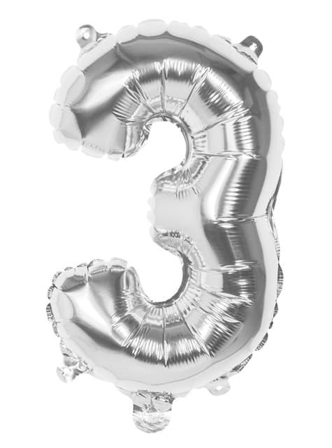 Nummer 3 sølv balloon 36cm