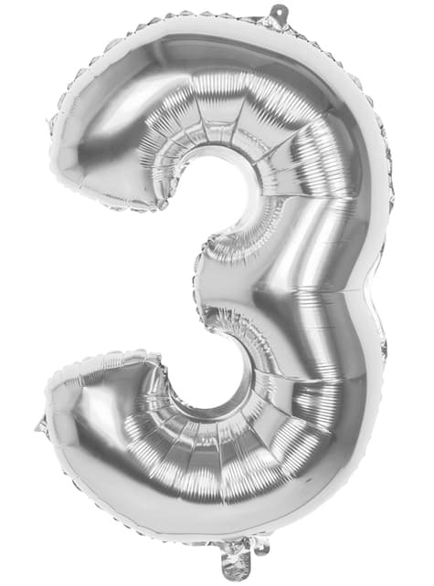 Number 3 silver balloon 86cm