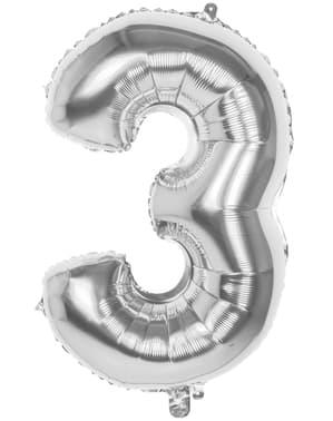 Ballong nummer 3 silverfärgad 86 cm