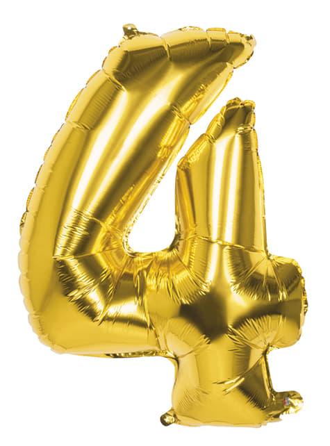 Ballon chiffre 4 doré 86 cm