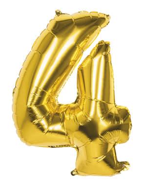 Gouden nummer 4 ballon 86cm