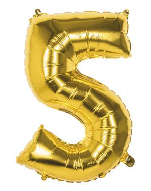 Balão número 5 dourado 86 cm
