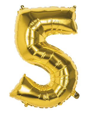Number 5 gold balloon 86cm