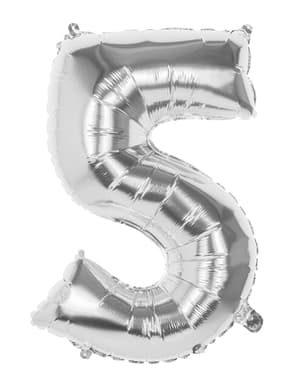 Luftballon mit Nummer 5 silber 86cm