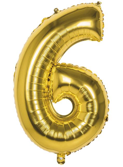 Globo número 6 dorado 86 cm