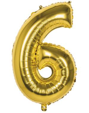Balão número 6 dourado 86 cm