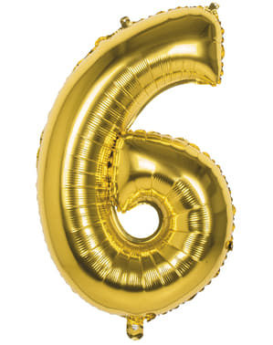 Palloncino numero 6 dorato 86cm